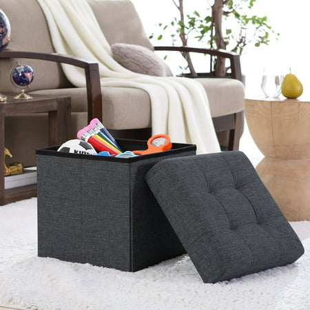Ornavo Foldable Tufted Linen Storage Ottoman Cube Foot Rest Stool/Seat - 15