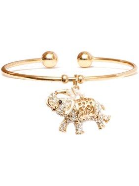 Swarovski Element Elephant Charm 18k Yellow Gold Plated Cuff