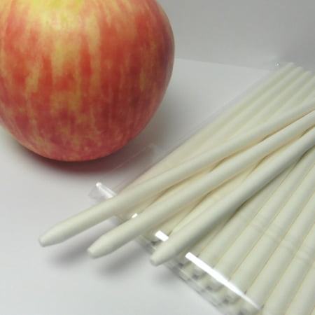 40pcs 6 in WHITE Pointed Paper Sticks For Cake Pops or Candy Apple - Heavy duty ()