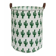 """HIYAGON Laundry Basket with Strong Handles, 19.7""""H x 15.7""""D Collapsible & Convenient Home Organizer Containers for Kids Toys, Baby Clothing, Nursery Hamper, Home decor ( Round - Green Cactus )"""