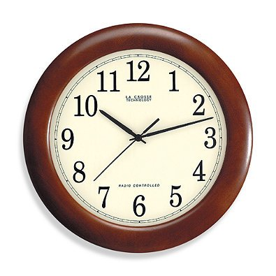 """12-Inch Atomic Wall Clock with Dark Red Wood Frame. Automatically Updates for Daylight Saving Time. Measures 12"""" in diameter, Atomic clocks let you dispense with.., By La Crosse Technology"""
