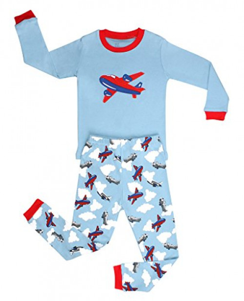 Elowel Boys Airplane 2 Piece Kids Pajamas Set 100% Cotton (Size2Y-12Y) (2t, Red)