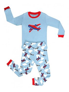 Elowel Boys Airplane 2 Piece Kids Pajamas Set 100% Cotton (Size2Y-12Y) (2t, Red)