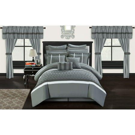 Chic Home 24-Piece Lance Complete bedroom in a bag Pinch Contemporary embroidered and quilted King Bed In a Bag Comforter Set Grey With sheet set