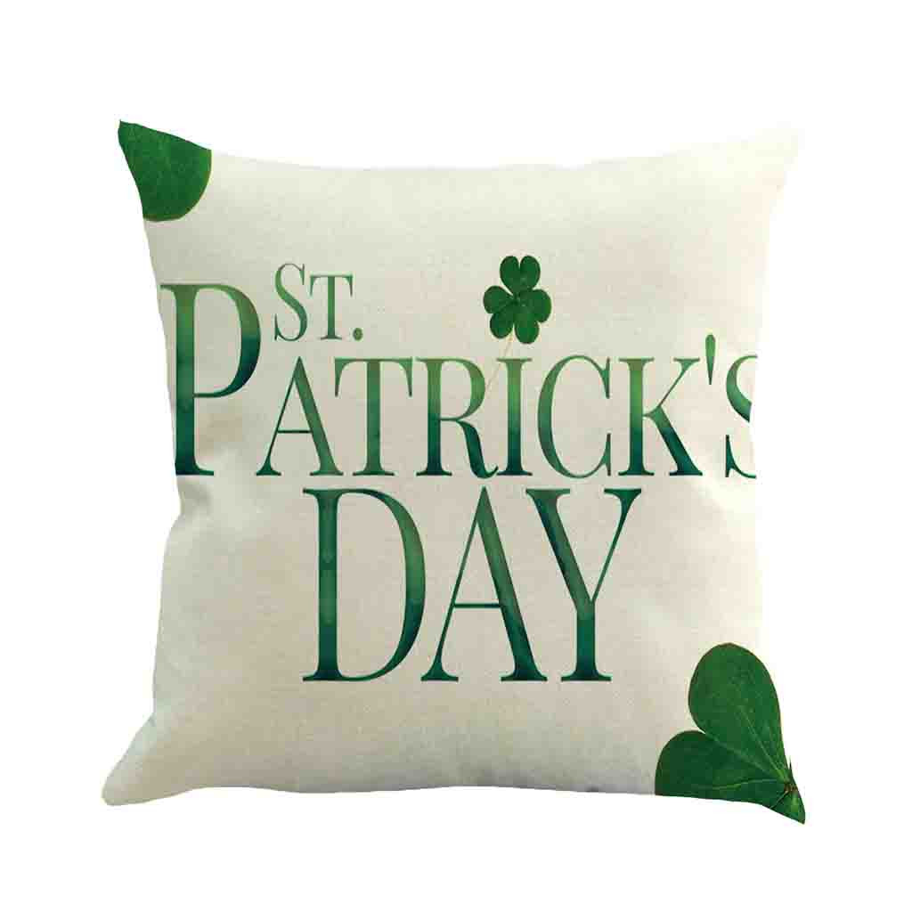 Happy St. Patricks Day Decorative Cushion Cover Spring Green Leaves Decor