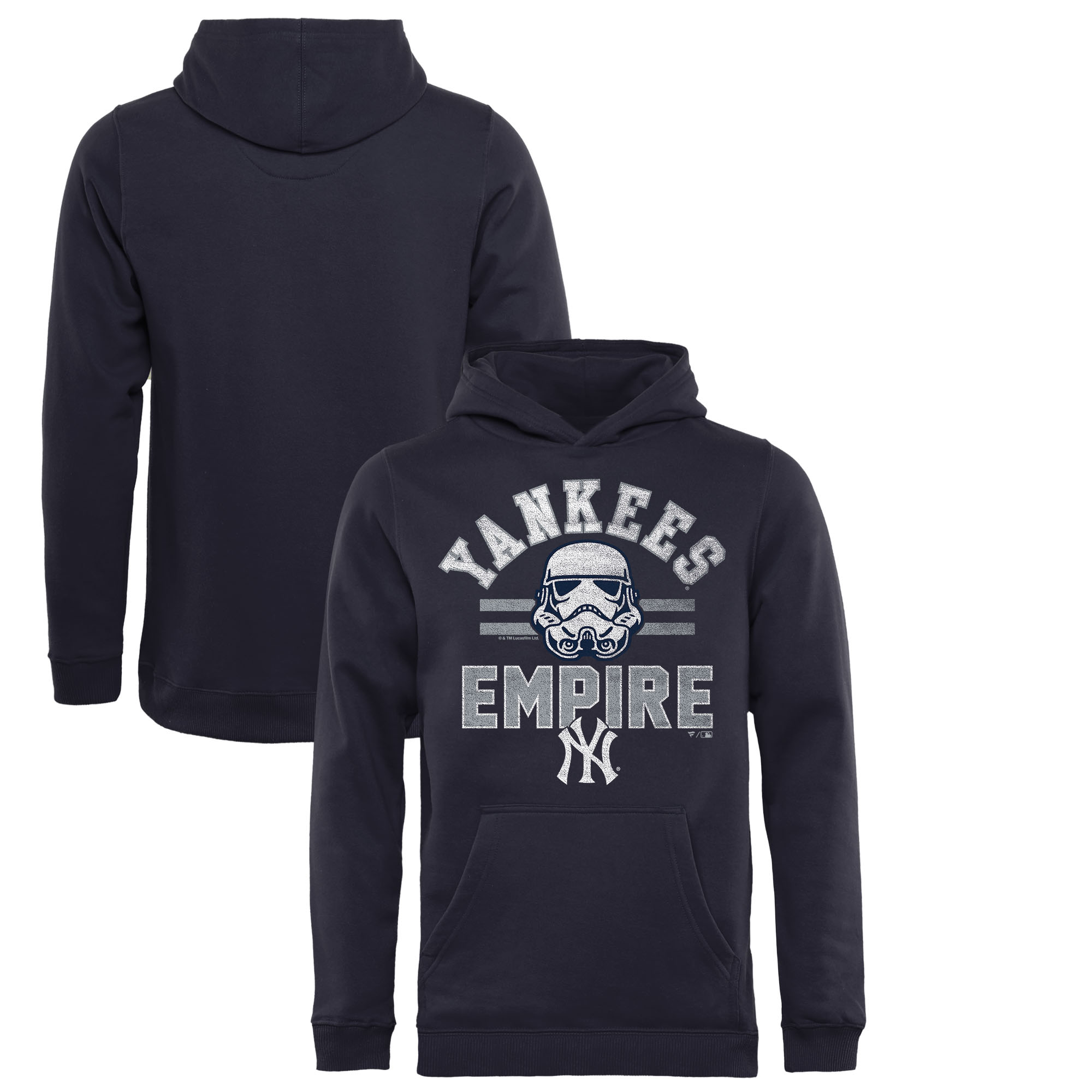 New York Yankees Fanatics Branded Youth MLB Star Wars Empire Pullover Hoodie - Navy