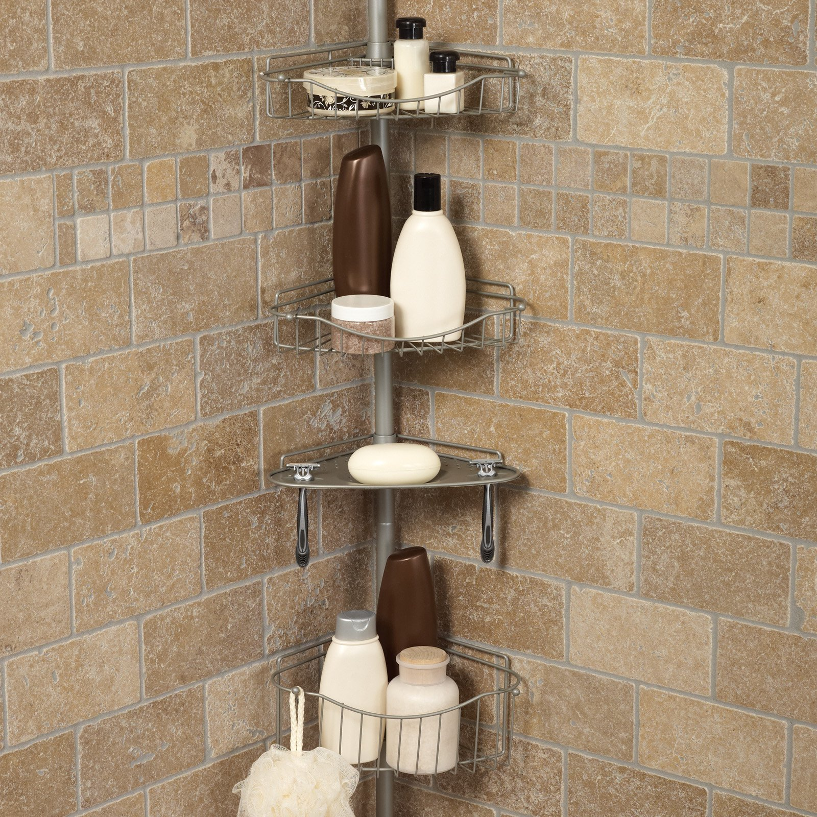 Zenith E2120BC Tub And Shower Tension Pole Caddy   Satin Nickel