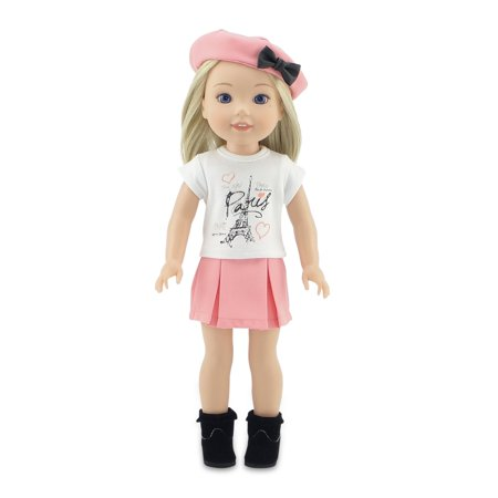 Emily Rose 14 Inch Doll Clothes | Parisian Doll Skirt Outfit, Including Hat, T-Shirt with Eiffel Tower Graphic and Boots | Fits 14
