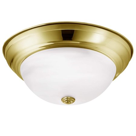 Luxrite LED Dome Ceiling Light, Gold Flush Mount Fixture, 13-Inch, 3000K Soft White, 1000 Lumens, Energy Star, Dimmable, Perfect for Entryway, Living Room, and Hallway Lighting ()