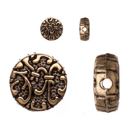 Pewter Beads, Antique-Brass-Plated, Double-Sided Filigree Pattern, 10x10mm Puff Round Sold per pkg of 10pcs per pack (Double Side Filigree)
