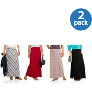 Faded Glory Women's Maxi Skirt with Shirred Waistband 2 Pack Value Bundle