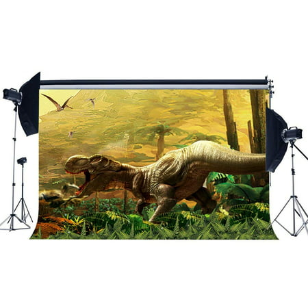 ABPHOTO Polyester 7x5ft 3D Dinosaur Backdrop Jurassic Period Cartoon Backdrops Jungle Forest Trees Fairytale Photography Background for Boys Kids Happy Birthday Party Decoration Photo Studio Props - Jungle Tree Decorations