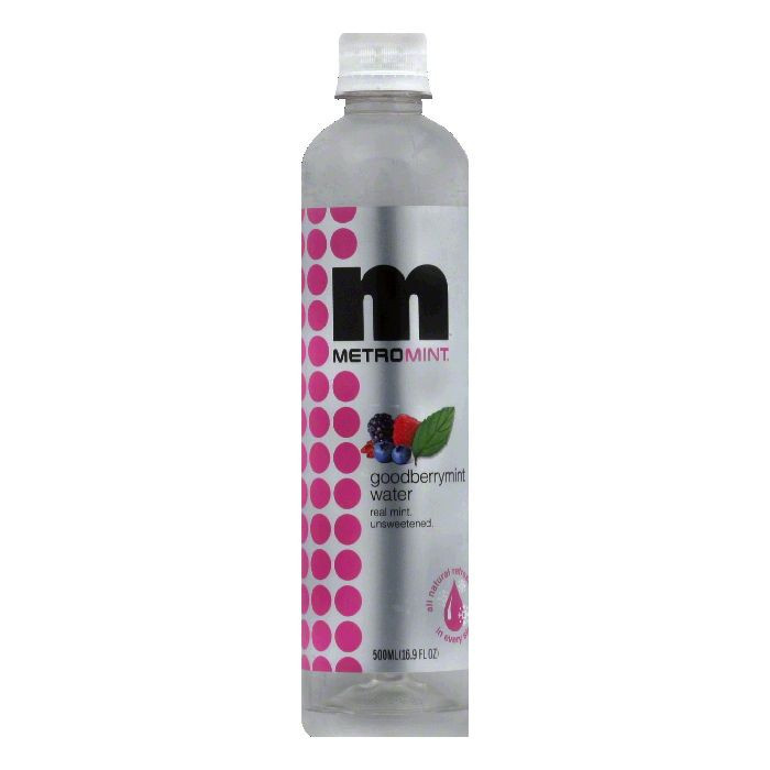 MetroMint Unsweetend Goodberrymint Water, 16.9 FO (Pack of 12)