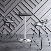 """YYAO 24.8"""" Modern Adjustable Swivel Round Bar Table for Home, Black"""