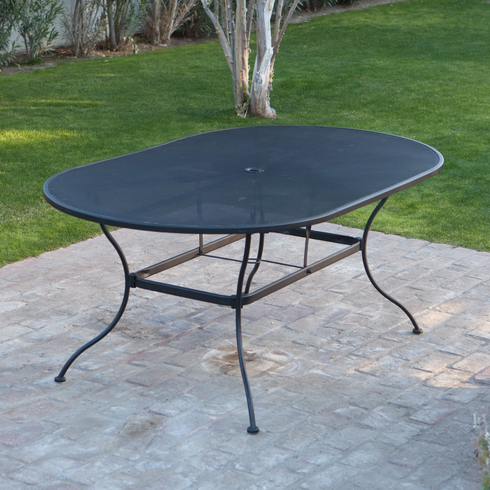Oval Wrought Iron Patio Dining Table By Woodard Textured Black