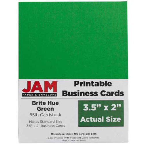 """JAM Paper 3 5"""" x 2"""" Printable Business Cards Green 100"""