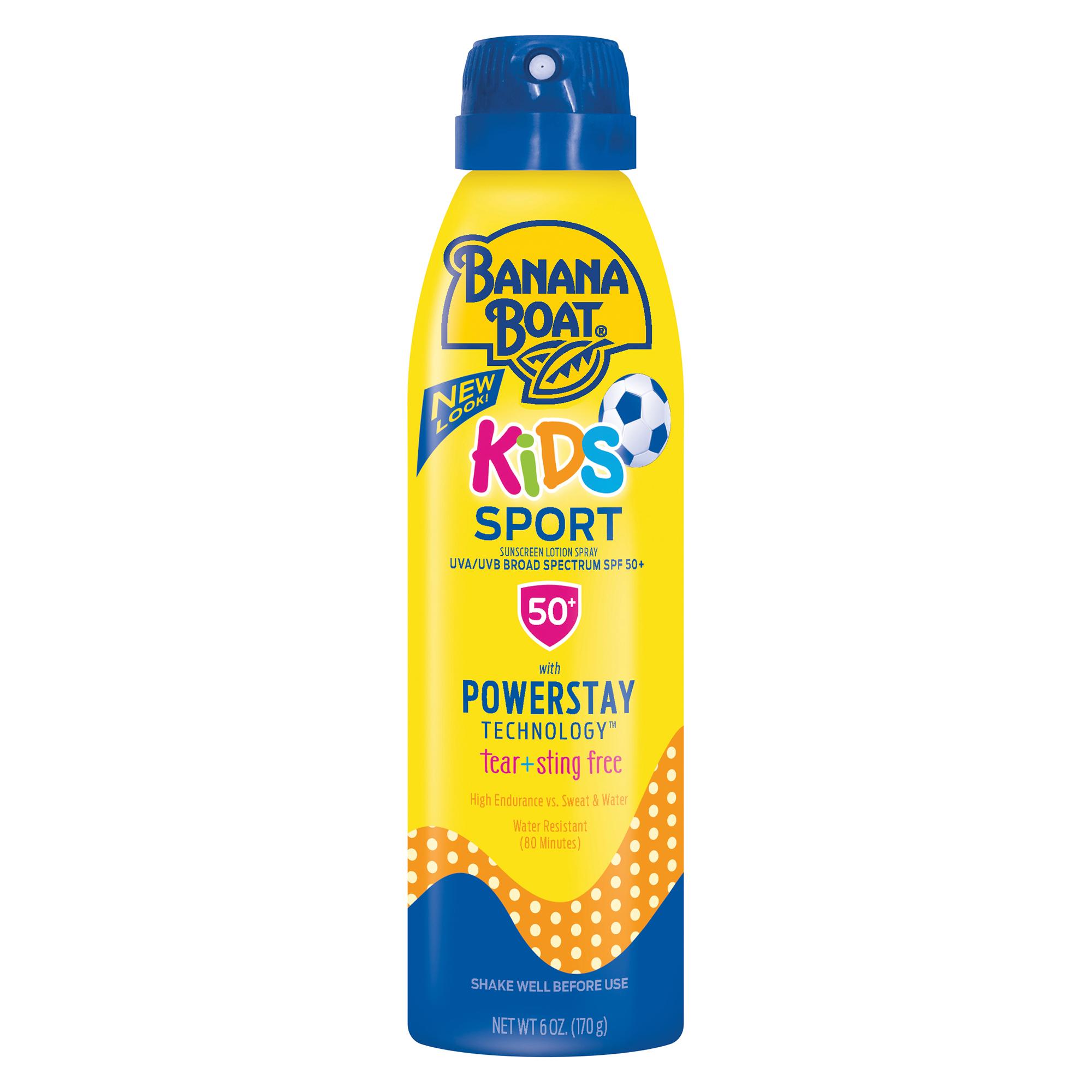 Banana Boat Kids Sport Sunscreen Lotion Spray SPF 50+, 6 Oz, Packaging May Vary