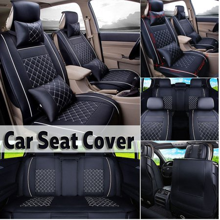 11 in 1 PU Leather Sedan SUV Car Truck U niversal 5-Seats Front + Rear Seat Cushion Cover Protector With 2 x Neck Cushion Pillows+2 x Back Pillows Four Seasons 52''x19'' ()