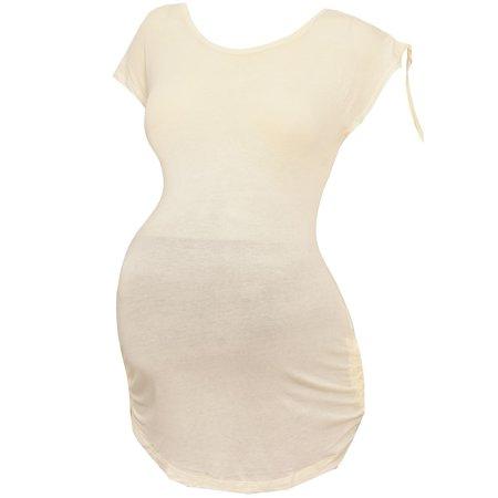 Harmonic Women's Ivory Cap Sleeved Maternity Clothing Trendy Top (Cap Sleeved Shirt)