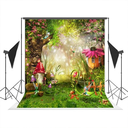 GreenDecor Polyster 5x7ft Photo Backdrops Photography Background Fairy Tale World Wizards Photo Studio Background for Children