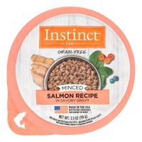 Instinct Grain Free Minced Recipe with Real Salmon Natural Wet Cat Food by Nature's Variety, 3.5 oz. Cups