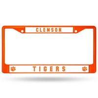 Clemson Tigers Colored Chrome License Plate Frame - Orange