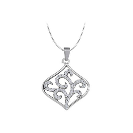 Diamond Square Like Shaped Pendant in 14K White Gold 0.25 CT TDWPerfect Jewelry Gift - image 1 de 2