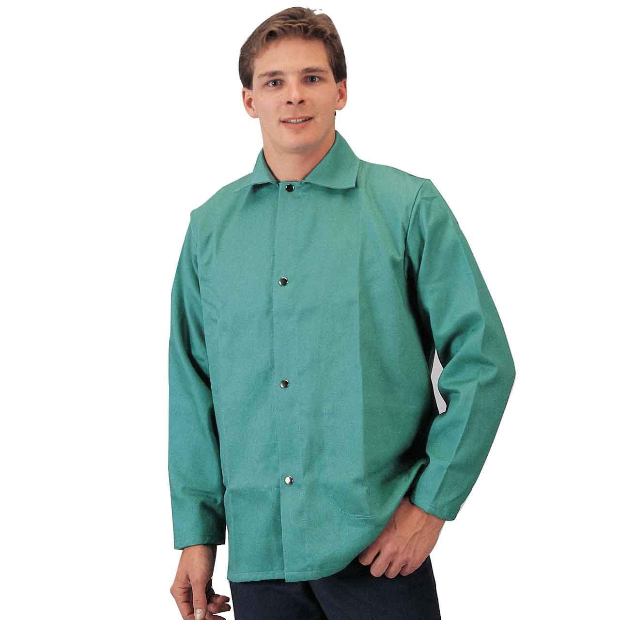 "Tillman 6230 30"" 9 oz. Green Flame Resistant Cotton Welding Jacket, X-Large"
