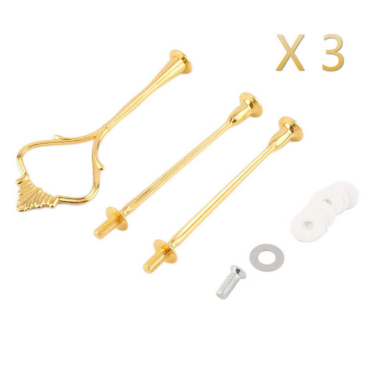 3pcs Gold 3 Tier Hardware Crown Cake Plate Stand Handle Fitting Wedding Party Golden Plated Decorating  sc 1 st  Walmart & 3pcs Gold 3 Tier Hardware Crown Cake Plate Stand Handle Fitting ...