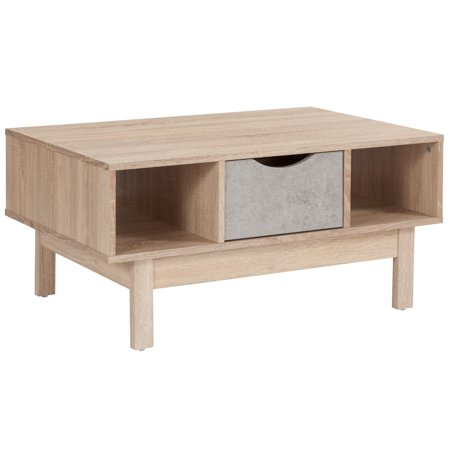 Flash Furniture St. Regis Collection Coffee Table in Oak Wood Grain Finish with Gray Drawer