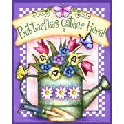 Butterflies Gather Here Spring House Flag