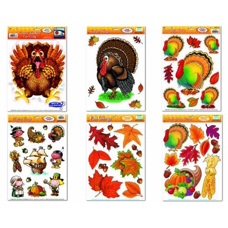 Thanksgiving Holiday Window Clings Assortment (6/pkg) Pkg/3, Fall Leaf Clings 12