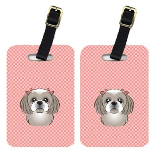 Carolines Treasures BB1250BT Pair Of Checkerboard Pink Gray Silver Shih Tzu Luggage Tags