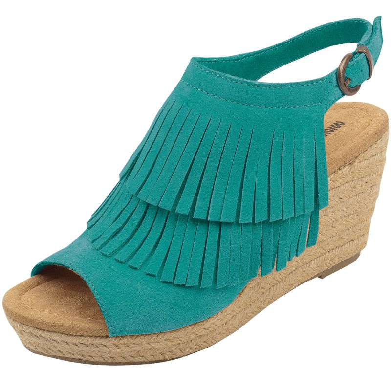 Minnetonka Womens Ashley Turquoise Suede Fringe Wedge Shoes by MINNETONKA