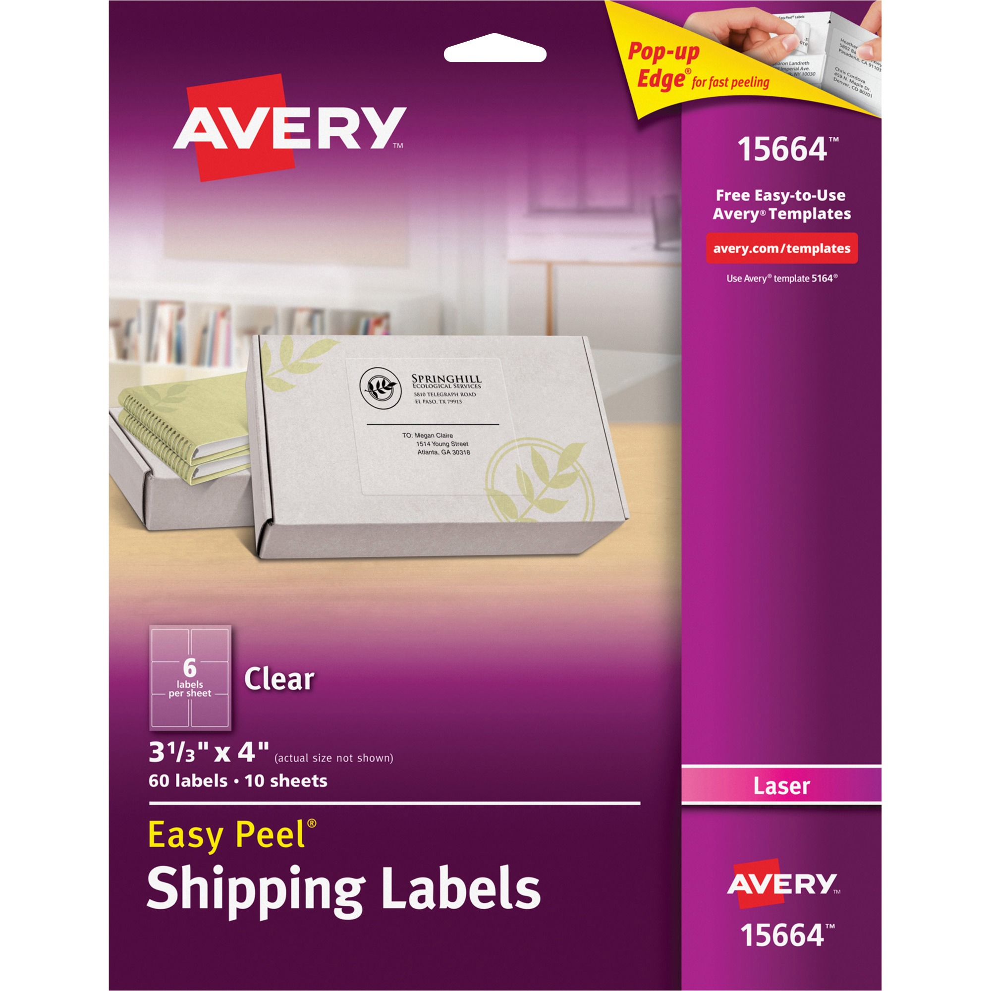Avery Matte Clear Easy Peel Shipping Labels, Laser, 3 1/3 x 4, 60/Pack