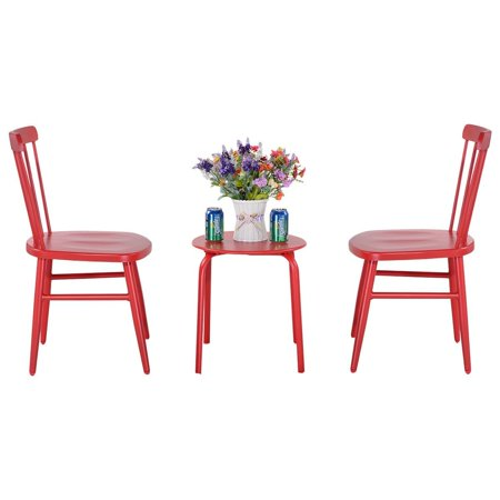Costway 3Pcs Outdoor Bistro Round Table Chair Furniture Set Garden Lawn Coffee Table (Red) ()