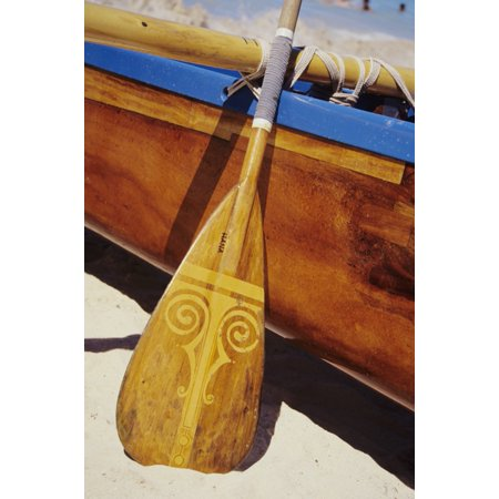 Wooden Paddle And Outrigger Canoe On Beach Canvas Art   Joss Descoteaux  Design Pics  11 X 17