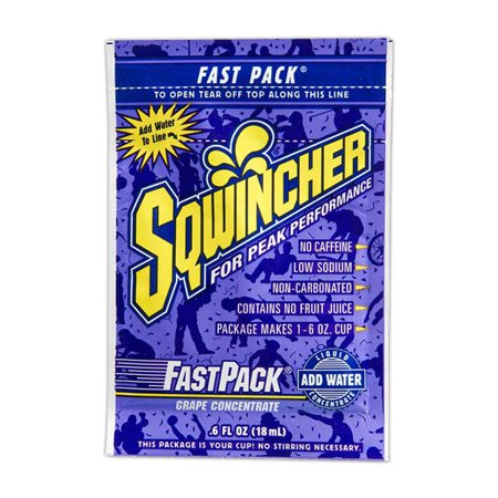Electrolyte Concentrate (Sqwincher .6 Ounce Fast Pack Liquid Concentrate Packet Grape Electrolyte Drink - Yields 6 Ounces (50 Single Serving Packets Per Box) )