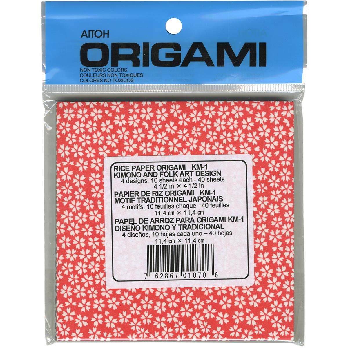 "Origami Paper 4.5""X4.5"" 40 Sheets-Kimono & Folk Art"