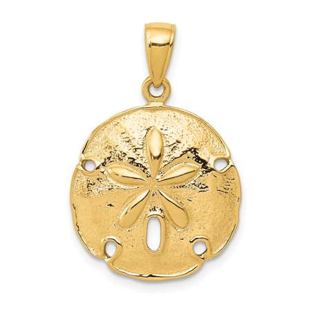 Gold Starfish Charm - 14k Yellow Gold Sand Dollar Sea Star Starfish Pendant Charm Necklace Shore Shell For Women