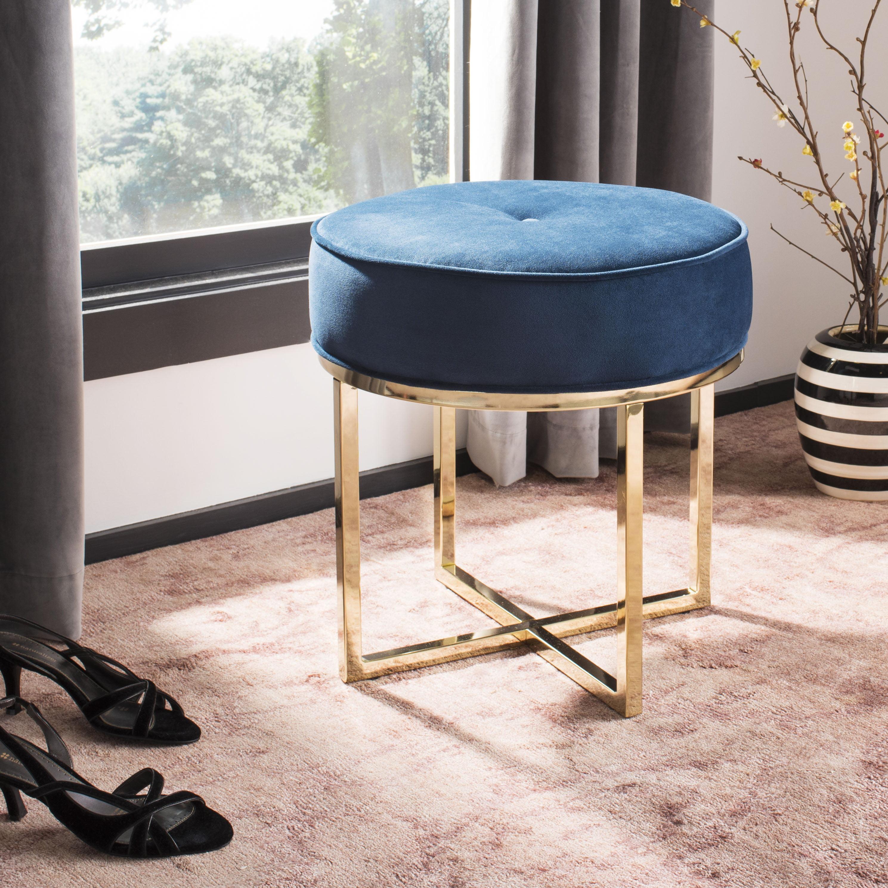 Safavieh Angelea Contemporary Modern Glam Round Ottoman