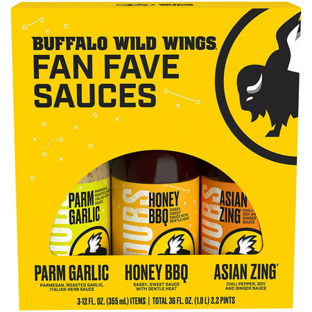 Buffalo Wild Wings 3 Pack Variety Sauces, 3-12 fl oz Wing Sauce Case