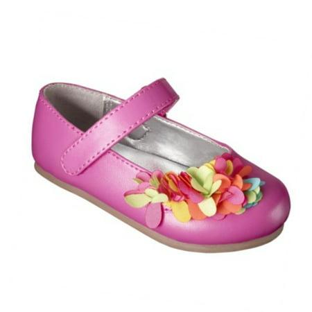 Osh Kosh Genuine Baby Infant Girl Pink Flower Dress Shoes Flats Mary Janes