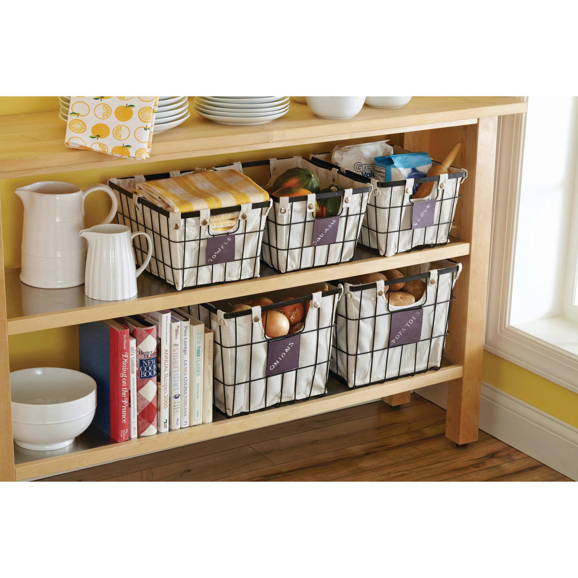 Wire Basket Storage Bin Better Homes And Gardens W Chalkboard Label Small  Black