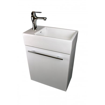 Small White Vanity Wall Mount Bathroom Cabinet Sink, Faucet and Drain ()