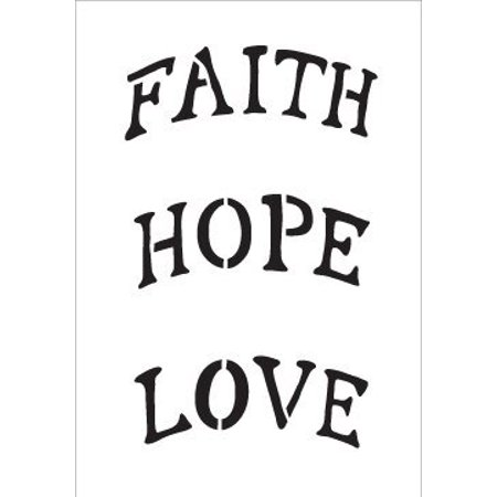 - Faith Hope Love Stencil by StudioR12 | Arched Ornament Size Word Art - Mini 3.5 x 5-inch - Reusable Mylar Template | Painting, Chalk, Mixed Media | Use for Journaling, DIY Home Decor - STCL516_2