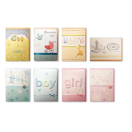Assorted Congratulations Wishes for Baby Cards Box Set 8 Pack Handmade Embellished Assortment Greeting Cards for Boy or Girl Birth & Shower - Handmade Halloween Cards Ideas