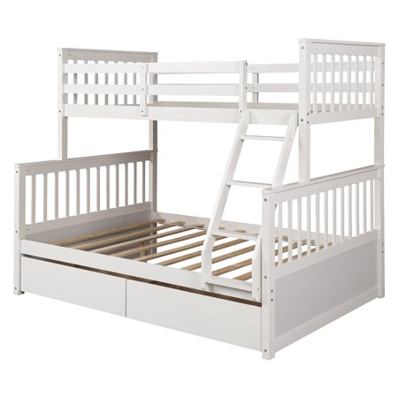 "Twin Over Full Bunk Bed Frame, Pretty Bunk Beds Twin Over Full Size with Four-step Ladder, Guardrails, 2 Storage Drawers, Solid Pine Wood Kids Bunk Beds for Boys Girls, 80"" x 57"" x 70"", White, Q7662"