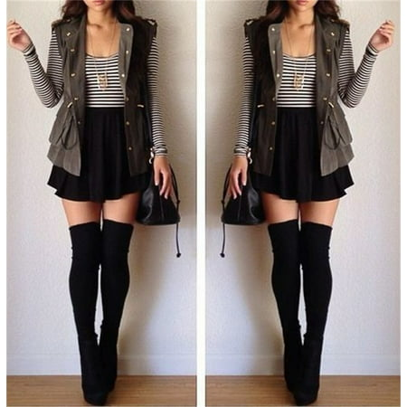Fashion Women Cotton Blend Over The Knee Long Socks Solid Thigh High Stocking Socks - Black
