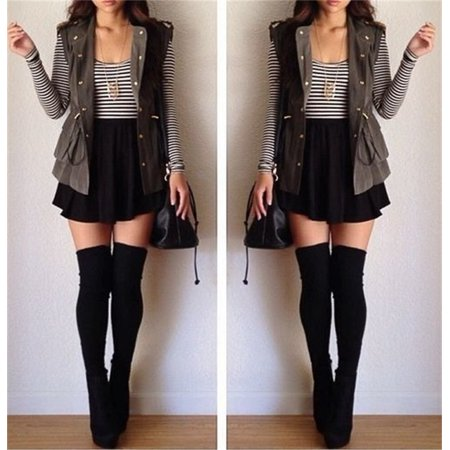 Fashion Women Cotton Blend Over The Knee Long Socks Solid Thigh High Stocking Socks - Black